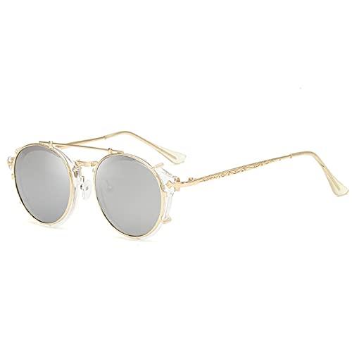 QSMIANA Gafas de Sol Clip En Gafas De Sol Hombres Mujeres Moda Vidrios Vintage Retro Moda Gafas De Sol Oculos Uv400-04 Trans-Silvery