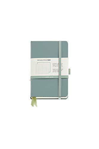 Miquel Rius - Cuaderno Bonito de Notas, Cubierta Rígida Símil Resistente, Cierre Goma, Tamaño 140 x 90 mm, 192 Páginas Lisas de 80 g/m², Color Verde