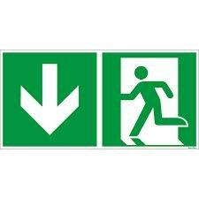 Flucht und Rettungsschild ISO 7010 nachleuchtend/selbstklebend Pfeil unten