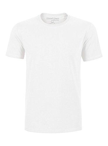 YTWOO Herren Basic Premium T-Shirt Rundausschnitt (200g/m2) Bio-Baumwolle Schwarz und Navy nachhaltige und Faire Mode Organic Cotton, (XXL, Weiß)