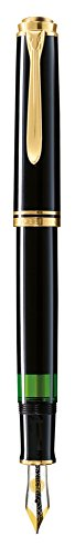 Pelikan Elegante Pluma Estilográfica Línea Clásica M600, negro, detalles de oro, plumín de oro de 14K de dos tonos, tamaño M, sistema de llenado por pistón - 979559