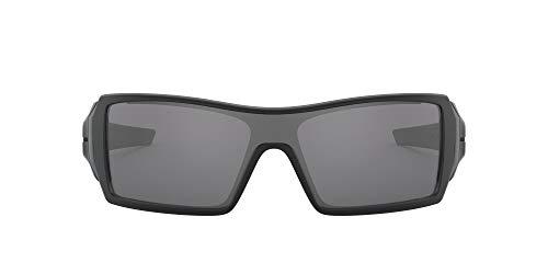 Oakley Men's OO9081 Oil Rig Shield Sunglasses, Matte Black/Black Iridium, 28 mm