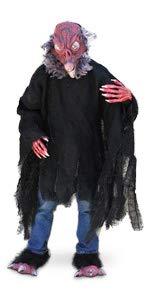 Zagone Studios Kit de disfraz de pjaro rojo buitre con mscara, manos, pies y camisa podrida