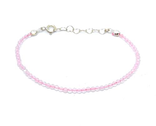 pulsera de piedra natural cuarzo rosa y plata de ley ajustable de 16mm a 19mm,...