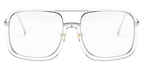 LOPIXUO Gafas de sol Gafas de sol cuadradas de gran tamaño para mujer, retro, transparente, para hombre, mujer, gafas, transparente