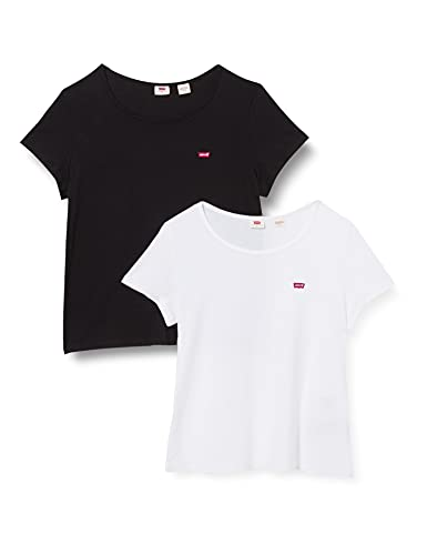 Levi's 2pack Camiseta, 2 Pack tee White +/Mineral Black, XL para Mujer