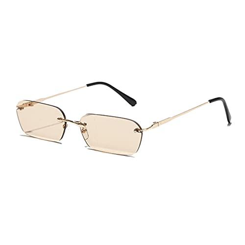 Q4S Gafas De Sol Rectangulares Sin Montura para Mujer Uv400, Gafas De Sol para Conducir, Accesorios De Verano De Color Transparente para Hombre, Tamaño Pequeño Cuadrado,D