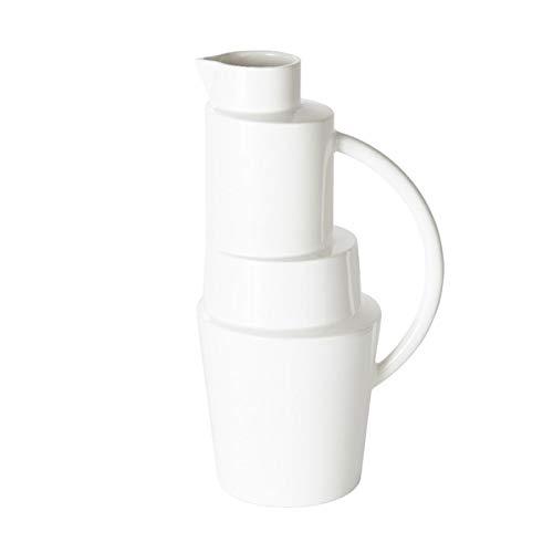 TomDion - Block Jug - Kanne/Karaffe/Krug - Keramik/Weiße Glasur - 18,3 x 35 cm - lebensmittelecht - Nicht für die Spülmaschine geeignet!