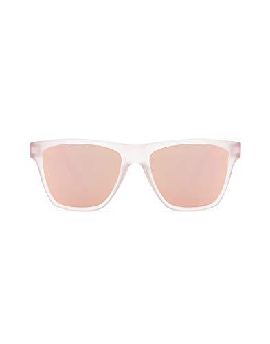 HAWKERS · Gafas de Sol ONE LS Rose Gold, para Hombre y Mujer, con montura rosa translúcido mate y lentes rosas con efecto espejo, Protección UV400
