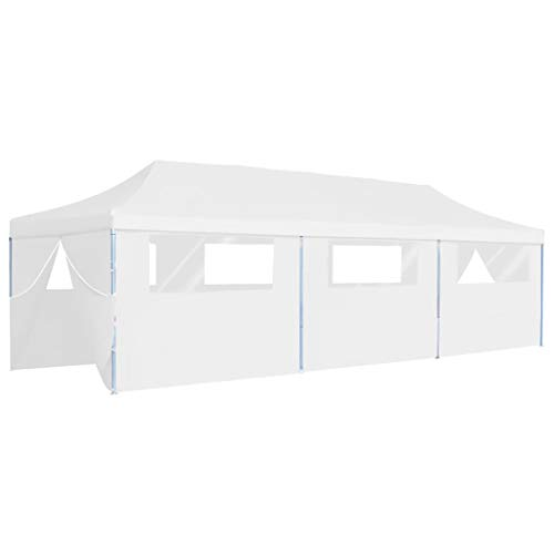 Goliraya Folding Pop-up Party Tent for Outdoor Events Sturdy Frame Light Weight with 8 Sidewalls 3x9 m White