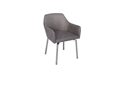 KAWOLA stoel Loui fauteuil eetkamerstoel kunstleer zwart, wit, grijs lichtgrijs lichtgrijs