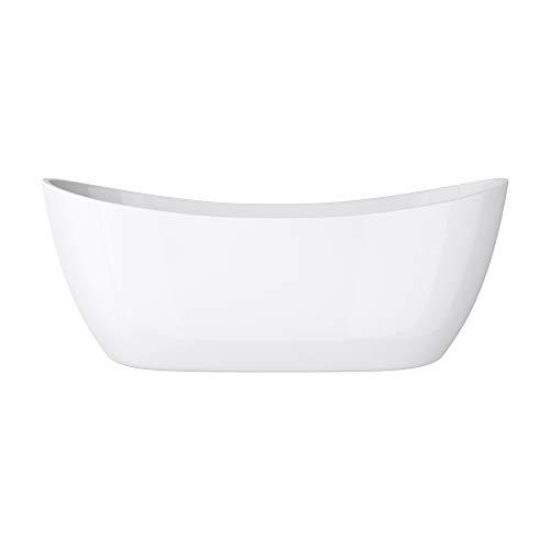 doporro Freistehende Design-Badewanne Vicenza502 180x80x60cm mit Ablaufgarnitur und Überlauf aus Acryl in Weiß und DIN-Anschlüssen