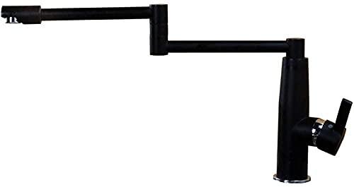 Alargar grifos de cocina plegables negros para lavabo, fregadero de cobre, grifo giratorio y creativo de calor frío (color de una sola manija)
