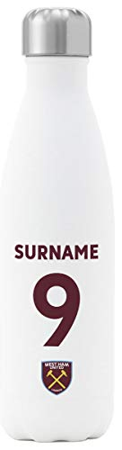 Personalised West Ham United FC Back Of Shirt Insulated Water Bottle - White