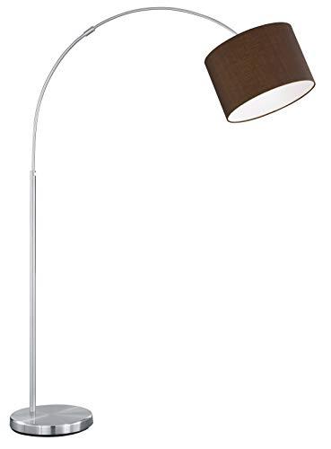 Trio Leuchten Bogenleuchte in Nickel matt, exlusiv 1x E27 maximal 60W, Höhe 150-215 cm, ø Schirm 30 cm, Stoffschirm braun 461100114