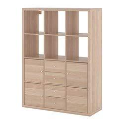 IKEA kallax librería estantería con 6Accesorios, Efecto Roble con Garra Blanco 112x 147cm