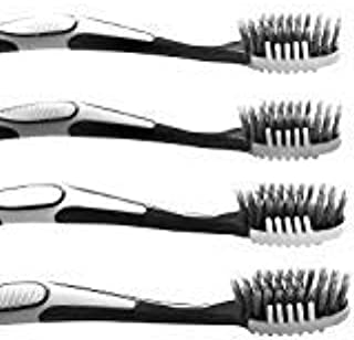 Trueocity Extra Soft Charcoal Toothbrush (4 Pack) White & Gray 2 in 1 Tooth Brush & Tongue Scraper; Fine & Gentle CrossAction Flossing Bristles Helps Prevent Gingivitis & Perio for a Complete Cleaning