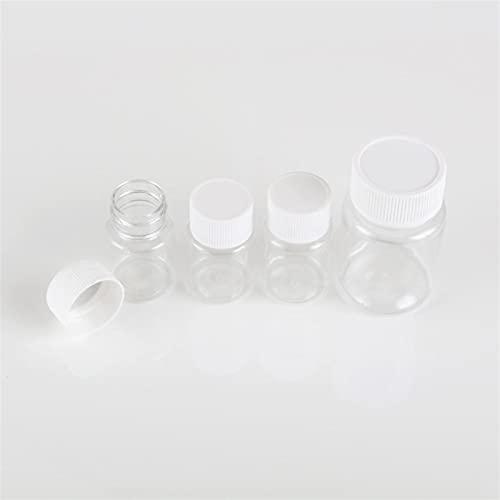NLLeZ 100 unids 15 ml / 20 ml / 30 ml / 60 ml de plástico de plástico Botellas de Sello vacío Polvo sólido Medicina Píldora Píldora Píldora Química Contenedor Reactivo Viales