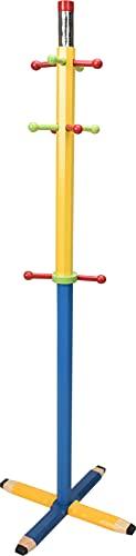 Perchero infantil con 10 ganchos, madera, 38 x 38 x 123 cm, color azul y amarillo
