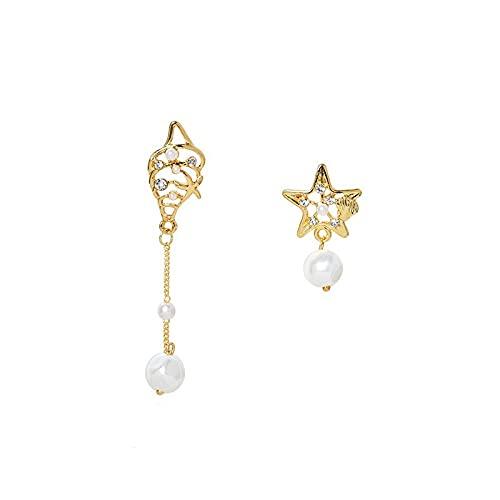 Pendientes de borla de estrella de cinco puntas con concha de aguja de plata 925 Pendientes largos asimétricos chapados en oro real de 14 quilates
