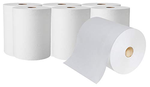 """A World of Deals High Capacity White Paper Towels 10""""X800' (Packed 6 Rolls) Premium Quality Fits Touchless Automatic roll Towel Dispenser"""