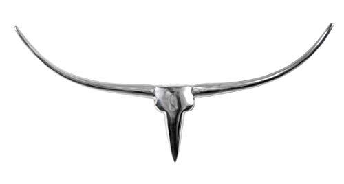 MichaelNoll Stierkopf Bulle Schädel Stier Bullenschädel Hörner Wanddekoration Silber Aluminium Metall - für Wohnzimmer und Schlafzimmer - 73 cm XXL