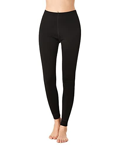LAPASA Damen 100% Merinowolle Leggings, Premium Merino Wolle Thermo Unterhosen, warm und atmungsaktiv Thermounterwäsche Unterteile (L49)