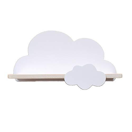 RUIYELE Estantes de nube para guardería o dormitorio de los niños, estantes flotantes para habitación de bebé, estante de almacenamiento, estante de madera flotante para decoración de pared, blanco