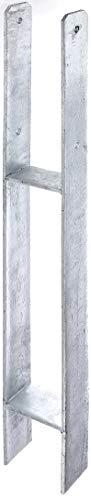 GAH-Alberts 219925 H-Pfostenträger, feuerverzinkt, Gesamthöhe: 800 mm, Materialstärke: 6 mm, lichte Breite: 91 mm