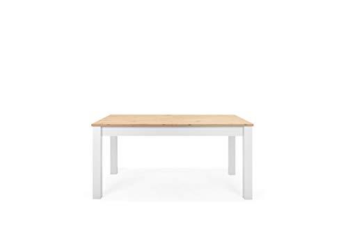Landhaus Esstisch (B/H/T: 160-215 x 75 x 90 cm) Synchronauszug ausziehbar auf 215 cm | inkl. Tischplatte (verstaubar im Gestell) Topplatte 22 mm | Dekor: Artisan Oak