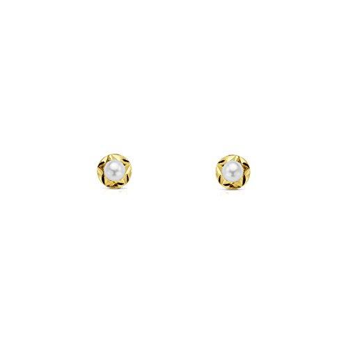 Monde Petit T1765P - Pendientes de bebe/niña oro 18 kts. orla estrella perla 3 mm