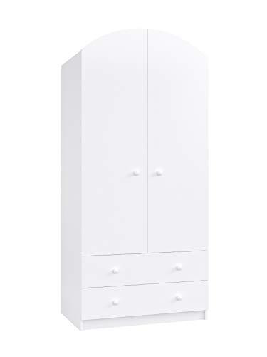 Clamaro 'LEO' Kinderzimmer Kleiderschrank weiß 2-türig mit Dämpfer Türen und Schubladen, 1...