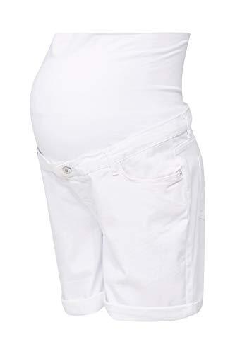 ESPRIT Maternity Damen Bermuda Denim OTB boyfrnd Umstandsshorts, Weiß (White 100), (Herstellergröße: 36)