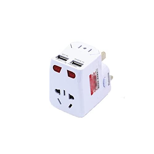QWZ Adaptador Universal de Viaje, Todo el Mundo, Todo en un Adaptador de alimentación Universal Adaptador de Enchufe de Enchufe con Puertos de Carga USB (Color : White, tamaño : 2USB)