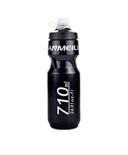SDGSDG Protección del medio ambiente Botella deportiva sin BPA/Hervidor de agua al aire libre-negro_710ml/ Botella de agua deportiva para gimnasio, viajes, oficina y hogar