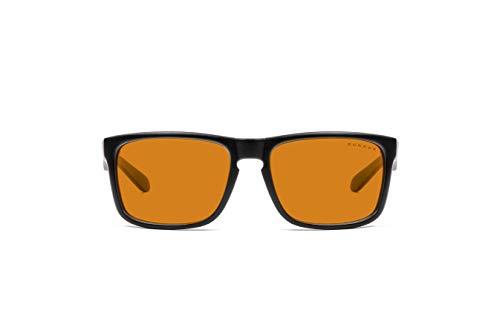 Gunnar Gaming and Computer Eyewear | Intercept, Onyx frame, Amber Tint | Blue Light Blocking Glasses | Patented lens, 65% Blue Light Protection, 100% UV Light | Reduce Eye Strain & Dryness