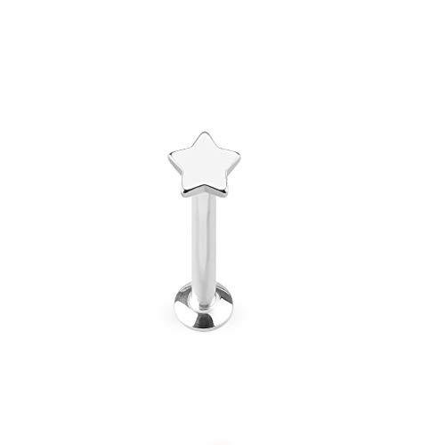 Paula & Fritz Universele Stud Labret Monroe Cartilage goud roségoud zwart zilver kant ster roestvrij staal chirurgisch staal 316L lengte 4 mm - 8 mm