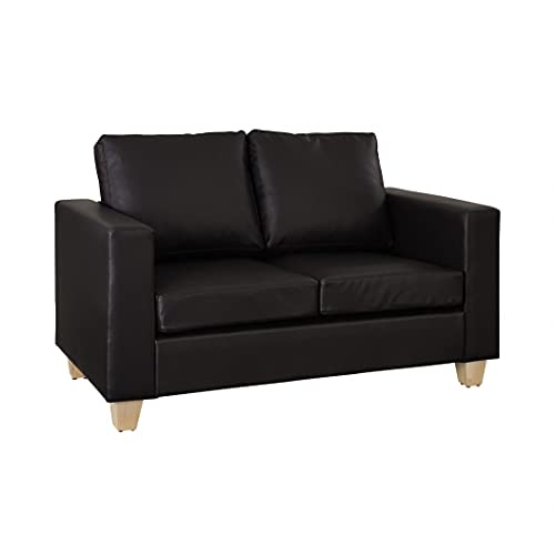 Brown Faux Leather Two Seater Sofa with Wooden Legs