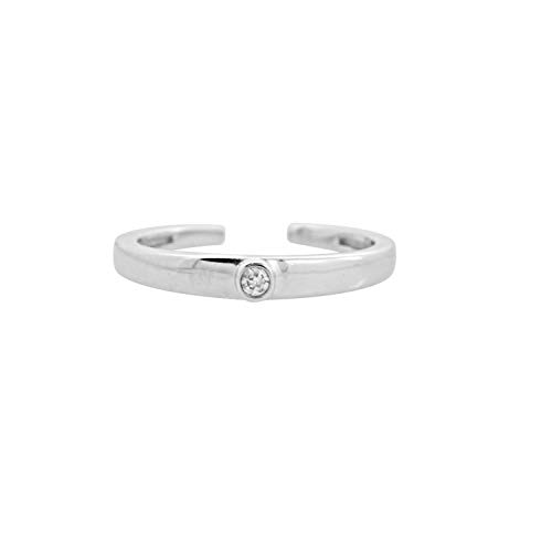 Ani's Womens Round Simulated Diamond 14K Gold Plated 925 Silver Solitaire Band Adjustable Toe Ring