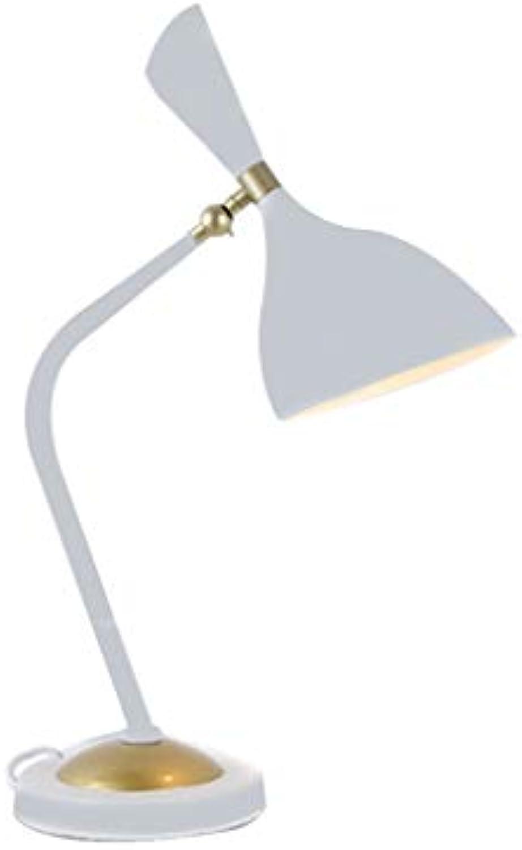 Sgxpjj Retro Leselampe Mit Gelenk-Arm Aus Metall LED Halogen E27 Schreibtischlampe Arbeitsplatzlampe [Energieklasse A+] (Farbe   Wei)