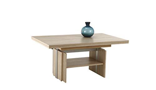 Couchtisch Jerome, Holzwerkstoff Dekor Sonoma Ei., ausziehbar+höhenverstellbar mit Lift, 110-177x68x53-69 cm