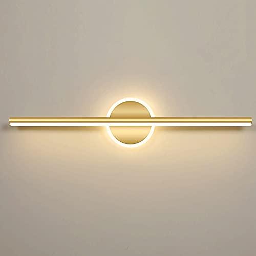 Lámpara Frontal De Espejo De Maquillaje Con Luz De Tocador LED Moderna, Aplique De Iluminación De Pared De Baño De Metal Dorado, Lámparas De Tocador De Montaje En Pared De Baño Blanco Cálido De 3000 K