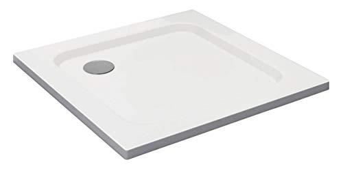 VILSTEIN Duschwanne 80 x 80 x 5 cm, sehr Flach, Duschtasse mit Gefälle, Sanitär-Acryl, Glasfaser verstärkte Wanne, DIN-Anschluss, Form: Quadratisch, Weiß, Schneeweiß Hochglanz - ohne Ablaufgarnitur