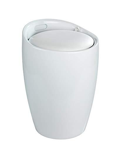 WENKO Wäschesammler, Wäschetruhe weiß – abnehmbares Sitzkissen Fassungsvermögen: 20 l, 35x50x35cm