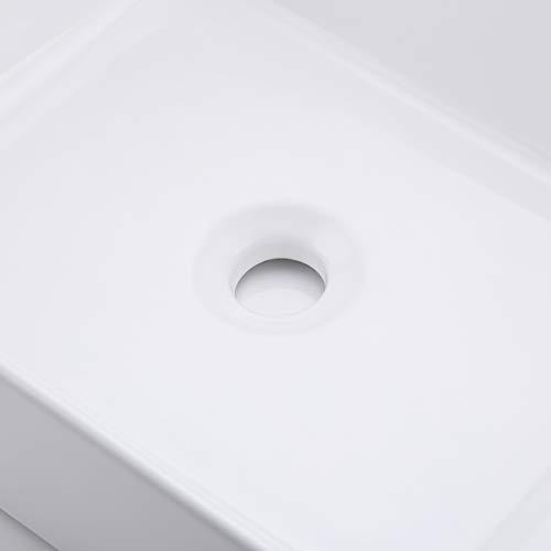 KES Bathroom Vessel Sink 19-Inch White Rectangle Above Counter Countertop Porcelain Ceramic Bowl Vanity Sink, BVS110