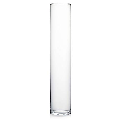"""WGV Tall Cylinder Glass Vase, Open Width 6"""", Height 31"""", Clear Large Floral Container, Planter, Centerpieces for Wedding Party Event, Home Office Decor, 1 Piece"""