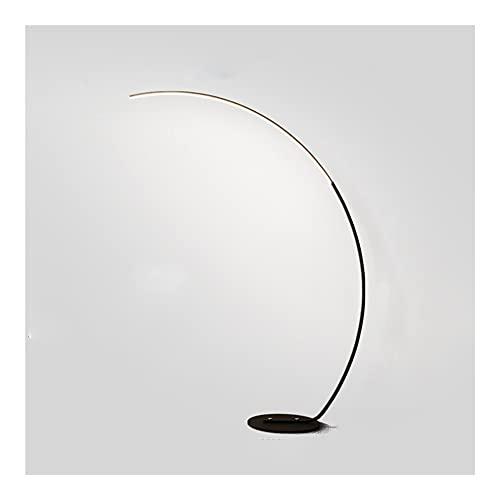 Lámparas de pie, Lámpara de pie de arco LED, lámpara de piano de pie minimalista moderna Negro, luz de pisado curvado de 25W Dimmable, diseño semicircular de lectura de cabecera eficiente en energía,