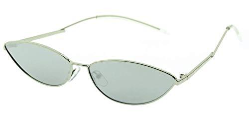 Gafas de sol con ojos de gato para mujer - gafas para gato - mariposa - niña - delgadas - alargadas - vintage - retro - trampa - moda - montura plateada - lente de espejo plateada cat eyes trap