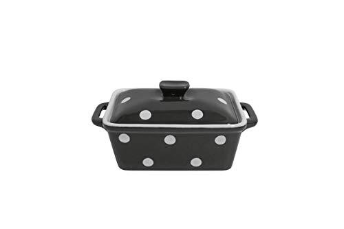 Isabelle Rose - IR5491 - Keramik Butterdose/Mini Backform - Charcoal/dunkelgrau mit weißen Punkten, Polka dots