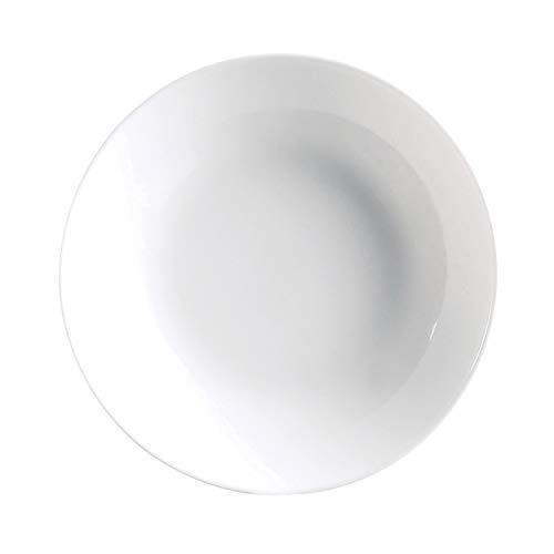 Luminarc Diwali Set 6 Platos Hondos sin ala de Vidrio Opal Extra Resistente 20cm, Blanco